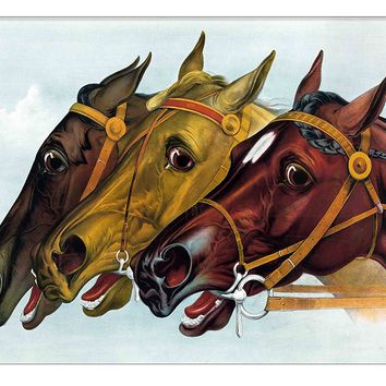 Neck to Neck Horse Race Picture on Canvas Hung on Copper Rod, Ready to Hang, Wall Art Décor