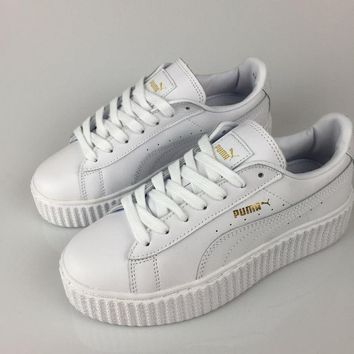 Puma Fenty by Rihanna White Gold Creepers Men's Women's Leather Shoes