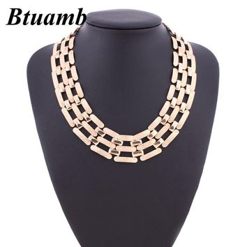 Btuamb Punk Hollow Geometric Necklaces Pendants Simple Style Gold Silver Color Bib Bar Chain Necklaces Women Night Club Jewelry