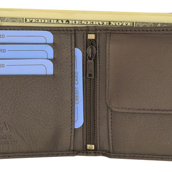 Moga Handmade Genuine Leather Mens Bifold Wallet with Coin Pouch 91013