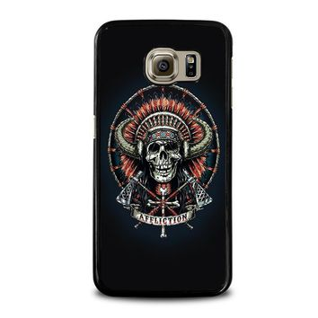 affliction indian skull samsung galaxy s6 case cover  number 1