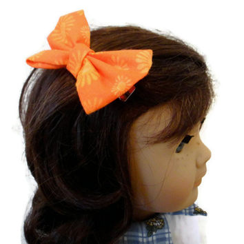 Hair Bow American Girl Doll Orange Yellow