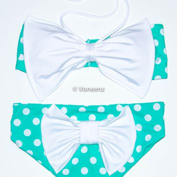 Mint and White Bow Polka Dot Spandex Bikini Set, Twisted Spandex Bandeau and Full Coverage Bikini Bottom, Two Piece Swimsuit