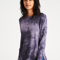 AEO Soft & Sexy Plush Drop-Shoulder Sweatshirt, Purple