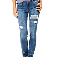 Taylor Low-Rise Skinny Jeans with Reverse Patches - Dark Blue