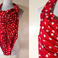 red polka dot one piece swimsuit (extra small), ruched retro pin up style monokini
