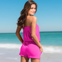 Strapless Pocket Elastic Waist Rompers