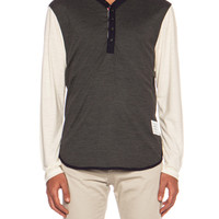 Contrast Sleeve Wool Henley in Medium Grey