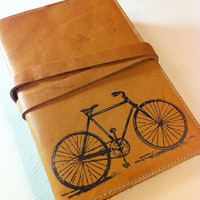 leather journal sketchbook hand-printed for you custom bicycle