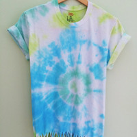 Beaded Bullseye Tie-Dye Crew Neck T-Shirt Tumblr Hipster