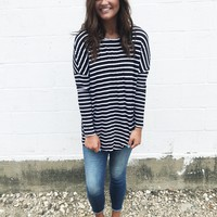 Sanders Jersey Tunic - Black & White Stripe
