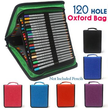 NICAS 120 Slots Oxford Canvas Pencil Case School Handy 4 Layer Large Capacity Pencils Bag Estojo Escolar For Art Kalem Kutusu