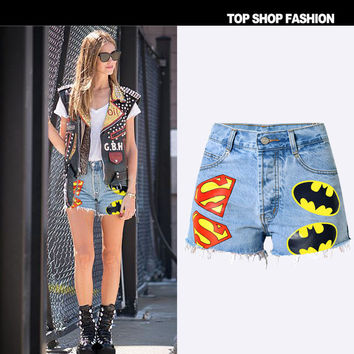 Denim High Waist Slim Punk Plus Size Shorts [7976028545]