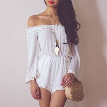 cute off shoulder lace romper jumpsuit