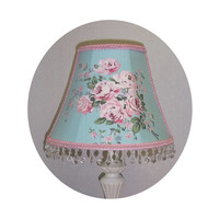 Pink Roses on Teal Shabby Chic Lamp Shade