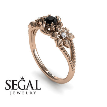 Unique Engagement Ring 14K Red Gold Flowers Art Deco Filigree Ring Black Diamond With White diamond - Kennedy