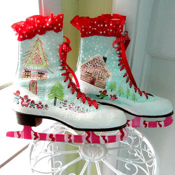 Painted Ice Skates - Gingerbread Houses- Christmas ice skates- Decoration