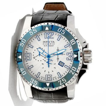 Invicta 10909 Men's Reserve Excursion Blue Bezel Silver Tone Textured Dial Chronograph Black Leather Strap Dive Watch