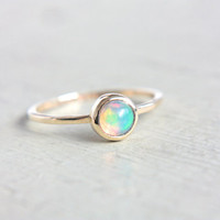 Natural Opal Ring 14k Yellow Gold Natural Ethiopian Welo Opal Gold Ring Size 6-6,5 Goldsmith October Birtshtone