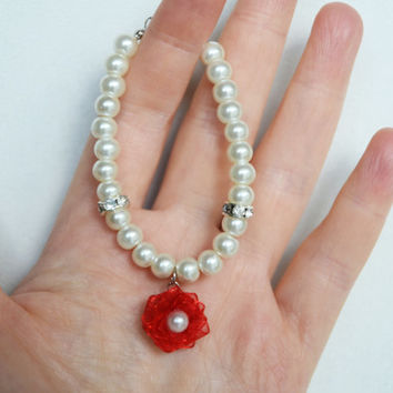 flower girl jewelry pearly bracelet glass ivory or white pearl red organza flower wedding jewelry
