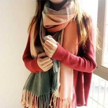 ca PEAPTM4 Thicken Plaid Couple Scarf [280546607145]