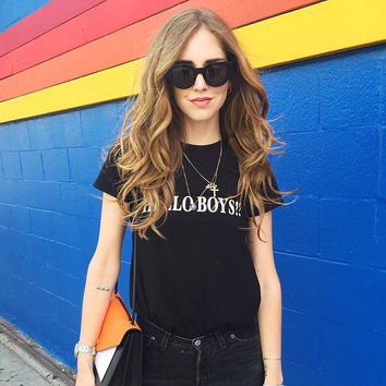 Fashion Loose Simple Casual Letter Print Round Neck Short Sleeve Female Cotton T-shirt