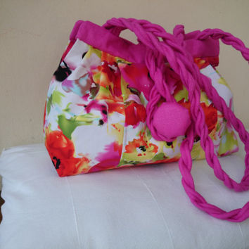 "Bag ""Manon"" pink flowers, fushia, cotton satin interfacing and lining, hand bag and shoulder bag, trendy,elegant and chic casual,"