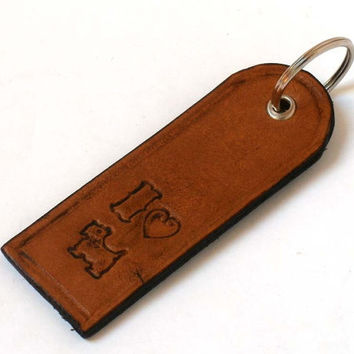 Leather key ring with sentiment, key fob, hand tooled leather, I love dogs