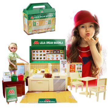 Barbie Size Dollhouse with Furniture - Pretend Play Dream Fast Food Restaurant Playset with Doll, Table and Chairs, Food, Play Money Coins - Girls Birthday Christmas Gift