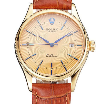 Swiss Rolex Cellini Date Gold Guilloche Dial Gold Case Light Brown Leather Strap
