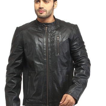 Men Straight Fitted Leather Biker Casual Jacket