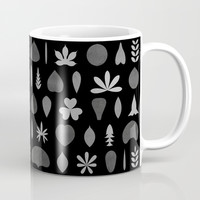 Leaf Shapes and Arrangements Pattern Greyscale Mug by Kathrinmay