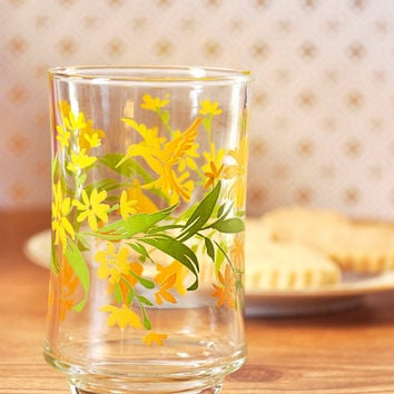 Vintage Libbey Yellow Floral Juice Glass