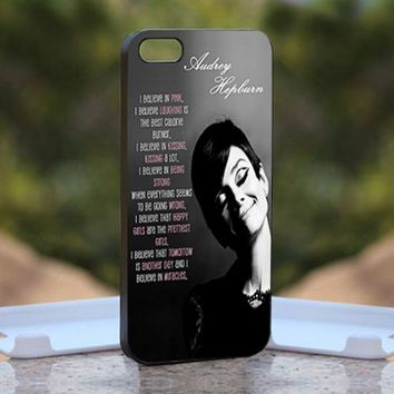 Audrey Hepburn quotes pink, Print on Hard Cover iPhone 5 Black Case