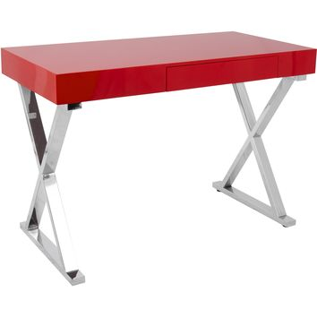 Luster Contemporary Office Desk, Light Red