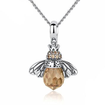 Lovely Orange Bee Animal Pendants Necklace for Women