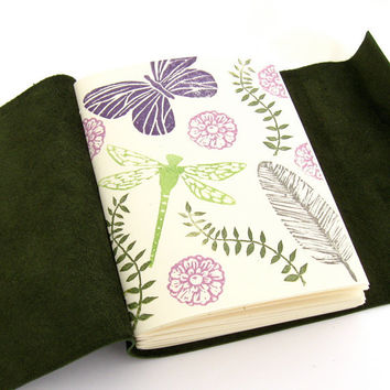 Nature Lover's Leather Sketchbook and Journal, A Handmade Pine Green Leather Journal