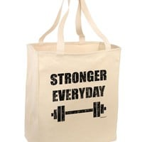 Stronger Everyday Gym Workout Large Grocery Tote Bag