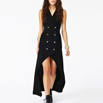 Black Haltered Buttoned Maxi Dress