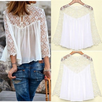 Sizes S-4XL 7 Plus Sizes New Brand Top Quality 2015 Womens Lace Crochet Chiffon Blouses Shirt Long Sleeve Sexy Women Clothing = 1958591172
