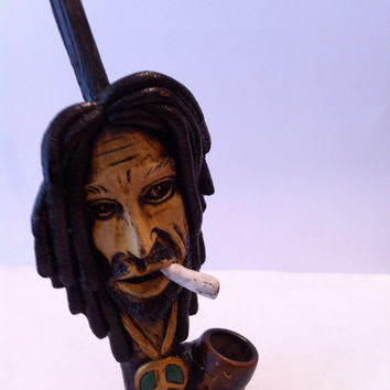 Tobacco Hand Made Pipe, Bob Marley Smoking Design