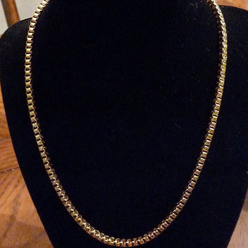 Vintage Kim Craftman gold tone box necklace costume jewelry 1970s