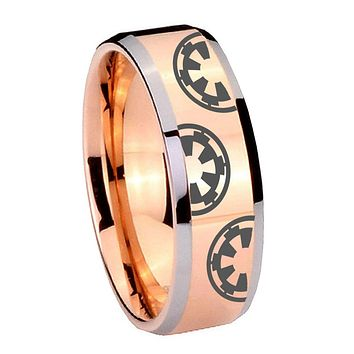 10MM Beveled Star Wars & Galactic Empire Rose Gold IP 2 Tone Tungsten Carbide Men's Ring