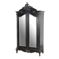 Moulin Noir 2 Door Mirrored Armoire | Black Painted French Carved Armoire | French Bedroom Furniture