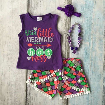 baby Girls Summer clothes this little mermaid is hot mess outfits baby girls mermaid summer clothing with accesssories