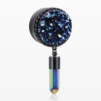 A Pair of Blackline Boho Druzy Crystal Pendulum Ear Gauge Plug