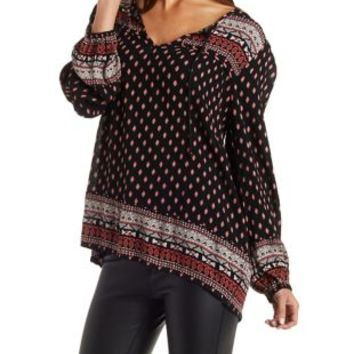 Black Combo Tie-Neck Border Print Tunic Top by Charlotte Russe