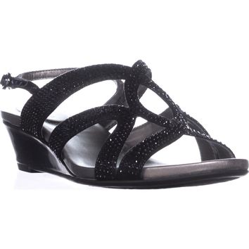 Bandolino Gomeisa Slingback Wedge Sandals, Black, 9.5 US