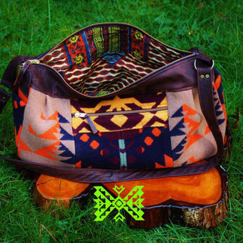 Ultimate Summer Accessory One of a Kind Pendleton Reclaimed Leather by Bag by myHOMEBYTHESEA on Etsy