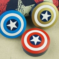 Hero Captain Shield Shaped Contact Lens Case Storage Box Holder Mirror Tweezer